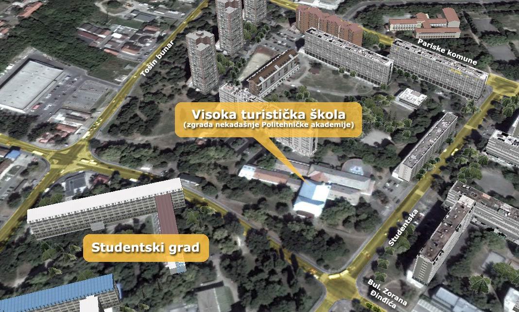 studentski grad beograd mapa Visoka turisticka skola Beograd studentski grad beograd mapa